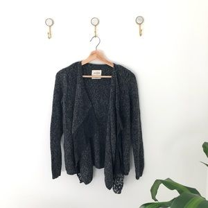 ABERCROMBIE grey lace ruffle cardigan sweater